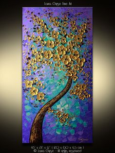 LARGE ORIGINAL ABSTRACT Landscape Blossom Tree Oil Acrylic Painting Modern Textured Palette Knife by Lana Guise