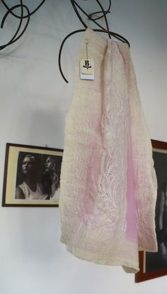 FromBtoB- handmade scarf -made of silk, lace and felted edges