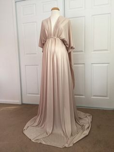 Champagne Jersey Maternity Infinity Gown by BoutiqueByAgnes Maternity Dresses For Baby Shower, Maternity Gowns, Maternity Fashion, Maternity Dress Pattern, Maternity Photo Props, Casual Maternity, Vestidos Para Baby Shower, Infinity Gown, Champagne Bridesmaid Dresses