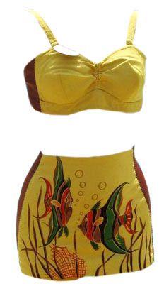 Vintage 40s Catalina 'Hawaiian Fish' California Hand Print Two Piece Swimsuit