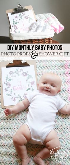DIY Monthly Baby Photos, Monthly Baby Photo Shoot, Photo Prop, Printable Monthly Baby Signs by @CraftivityD