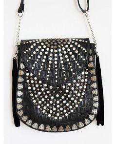 Rhinestone Studded Fringe Bag