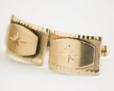 Vintage Cufflinks Art Deco Stars Cuff Links Gold by CuffsandClips