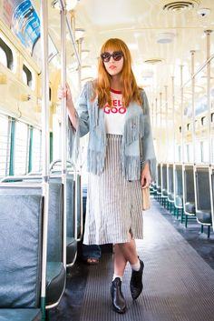 20 Snaps Of S.F.'s Most Stylish Commuters  #refinery29  http://www.refinery29.com/san-francisco-subway-street-style-pictures#slide-1  Name: Carly NolanJob: Styling AssistantWhat She's Wearing: Camp Collection shirt, Reformation skirt, Wallflower vintage jacket, and Topshop shoes.Where We Spotted Her: Streetcar, F-Line