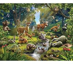 Walltastic Animals of the Forest Wallpaper Mural, Multi-Colour