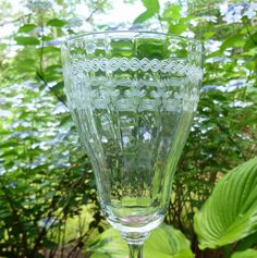 Perfect For Your St Patrick's Day Celebration! Antique Etched Optic Ribbed Tall Stem Heisey Trefoil - C