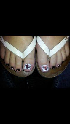 Texas tech nail art Finger Nail Art, Toe Nail Art, Toe Nails, Cute Toes, Pretty Toes, Texas Nails, Texas Tech Red Raiders, Bling Nails, Nails Inspiration