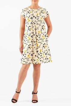 Floral print crepe shift dress #eShakti