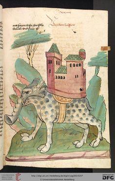 Cod. Pal. germ. 300 Konrad von Megenberg Das Buch der Natur Hagenau - Werkstatt Diebold Lauber, um 1442-1448? Page:95r Der Elefant