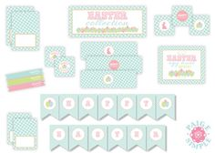 We Heart Parties: Free Printable Party Decor, Banners, Cupcake Toppers, Water Bottle Labels Pastel Easter Printables