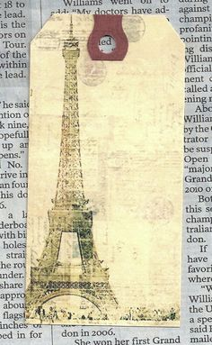 French Hang Tag, Eiffel Tower-12 Large or Medium Tags-save the dates