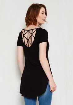 Lattice Celebrate Top. Youre meeting your besties for drinks to toast your promotion, so you slip into this black top, and a festive vibe immediately commences. #black #modcloth