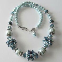 Beaded bead necklace , Indian sapphire Swarovski crystals, aqua pearls, via Etsy.