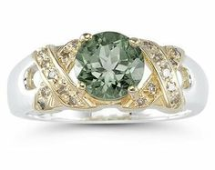 1.3ct Green Amethyst And Diamond Ring in 14K Yellow Gold And Silver Szul. $219.00