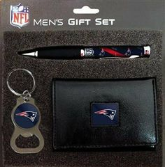 New England Patriots NFL Trifold Wallet Pen & Keychain Gift Set by Team Sports America. $28.95. High quality leather. Makes a great gift. Officially licensed. Includes a wallet, keychain, and pen. Includes leather lool Tri-fold Wallet Bottle Opener key chain and Comfort Grip Pen all with full color team logos.