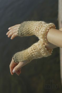 knitted mittens sand