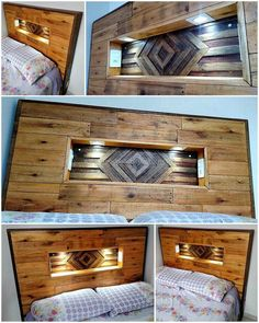 A captivating design for the bed headboard is attractively introduced here in the image below. This impressive pallet bed headboard is simply a DIY project that you can easily design with the proper working of few hours. The most admirable thing about the Wood Pallet Beds, Diy Pallet Bed, Wooden Pallet Furniture, Diy Pallet Projects, Wooden Pallets, Wood Projects, Recycled Pallets, Pallet Ideas, Plastic Pallets