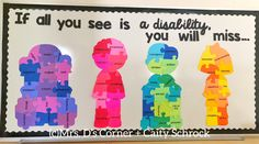 "October is Disability Awareness month, but it's so much more than awareness… it's about acceptance and seeing people, our students, for who they are. This FREE bulletin board display will help students, staff, and everyone who walks the halls of your school think about each child first and not the ""label"" of a disability or difference a child may have. Free door decor display for Ability Awareness. Only at Mrs. D's Corner."