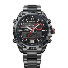 e94596301ec Watches Men Luxury Brand WEIDE Analog Digital Multifunction Waterproof  Casual Sports Watch For Men Stainless Steel