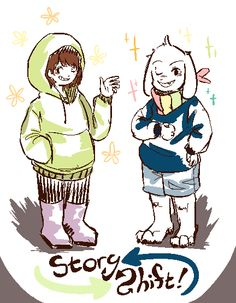 Storyshift AU. As you can see, Chara and Asriel replaced Sans and Papyrus. Sans replaced Asgore, Asgore replaced Alphys, Alphys replaced... Napstablook? Papyrus is now Toriel and Toriel is replacing Undyne.