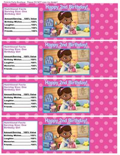 Doc McStuffins Inspired Water Bottle Label by PinkInkPartyBoutique, $5.00
