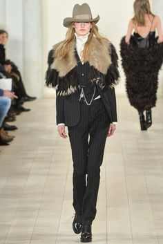Ralph Lauren - Fall 2015 Ready-to-Wear. I'd like this more if the fur were all one color. And I loathe the hat.