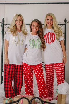 24621106db Monogrammed Christmas Pajamas Youth Adult Monogrammed Pajama Pants Christmas  PJs