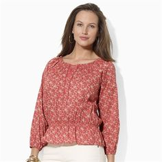 Lauren Ralph Lauren Plus Size Floral Peasant Tunic #VonMaur #LaurenRalphLauren #Red #Print