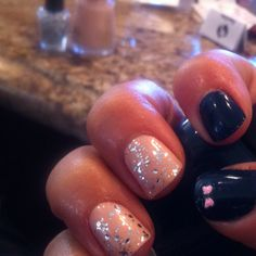 Nude with sparkly nails and a pretty pink bow