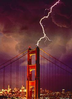 Lightning striking the Golden gate Bridge, San Francisco, California
