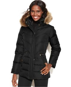 685643e5f1a8 Larry Levine Hooded Faux-Fur-Trim Quilted Down Coat Women - Coats - Macy s