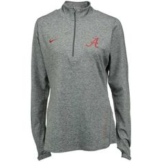 Nike Women's Alabama Crimson Tide Stadium Element Quarter-Zip Pullover ($53) ❤ liked on Polyvore featuring activewear, activewear tops, grey, nike, sweater pullover, 1/4 zip pullover, nike activewear and quarter zip pullover