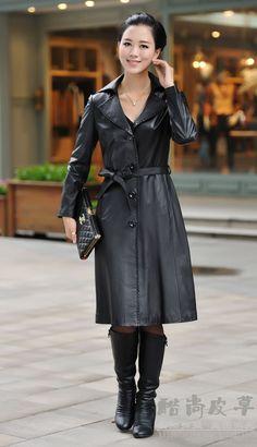 Haining genuine leather coat, leather trench coat Long Slim sheep Phi clothing windbreaker jacket 2014 New special,M-5XL