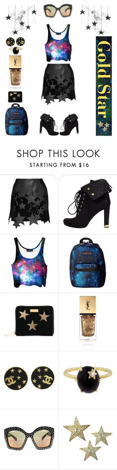 """""""Gold Star"""" by creation-gallery ❤ liked on Polyvore featuring Anthony Vaccarello, Louis Vuitton, JanSport, STELLA McCARTNEY, Yves Saint Laurent, Chanel, Andrea Fohrman, Gucci and Diamond Star"""