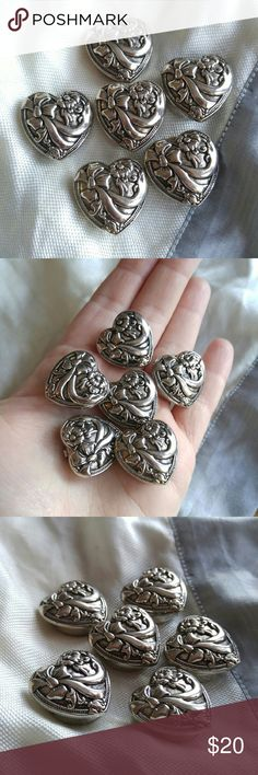Vintage heart button covers silver tone Victorian This set of Victorian style button covers are heart shaped with a raised design of flowers and ribbons! They are made of silver tone metal. Button covers are in nice shape and are from a smoke free home:)    SUNG8849HEART888 Vintage Jewelry