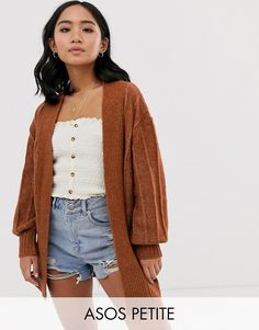 Discover the range of Petite sweaters & cardigans with ASOS. Choose from F/W sweater staples, ultimate chunky knitwear & cable knits to embellished sweaters at ASOS. Petite Jeans, Petite Tops, Petite Midi Dress, Chunky Knitwear, Asos, Coatigan, Petite Sweaters, Midi Shirt Dress, Short Sleeve Cardigan
