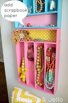 silverware trays turned jewelry holder. (I would use colors to match my room. Maybe put on side of mirror in bedroom?- Kathee)