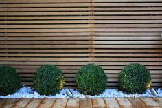 Une palissade en bois à claire-voie et des arbrisseuax