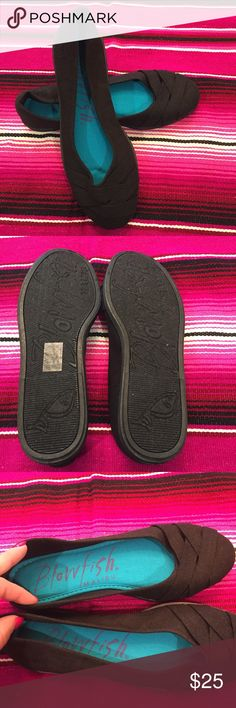 Blowfish Glo Black Flats Never worn, little dusty on the bottoms from sitting in closet. Brand new shoe!! ***bundle and save from my other products!! Also no low ball offers please*** These beautiful Blowfish® loafers are vegan friendly. Fabric upper with crisscross straps at vamp. Easy slip-on wear. Embroidered logo accent at heel panel. Contrasting fabric lining. Lightly cushioned fabric footbed. Man-made sole. Blowfish Shoes Flats & Loafers