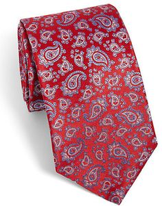 $128, Red Paisley Silk Tie: Saks Fifth Avenue Collection Small Paisley Silk Tie. Sold by Saks Fifth Avenue. Click for more info: http://lookastic.com/men/shop_items/35047/redirect