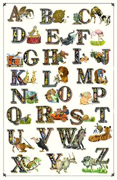 Fantastically Fun Alphabet Print - Charaterized Letters - Each letter is Unique -   11 x 17 inch. $22.00, via Etsy.
