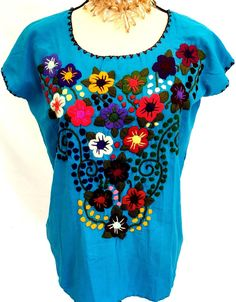 b920e14932e63 Mexican Blouse Frida Kahlo Turquoise Floral EMBROIDERED Hippie Boho Peasant  Size S M Women s Ethnic by MariabonitaCreations on Etsy