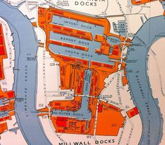 Isle of Dogs map from 1960 London Map, Old London, Thames Barrier, Tower Hamlets, Isle Of Dogs, London Photos, River Thames, Local History, Vintage Maps