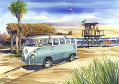 """King of Old Mans"" by Bill Drysdale, Southern California // Watercolor of a classic 1967 VW Bus pulled up on the sand at the famous surfing beach, Old Man's, San Onofre, CA. The original has been sold, but I accept commissions. // Imagekind.com -- Buy stunning, museum-quality fine art prints, framed prints, and canvas prints directly from independent working artists and photographers."