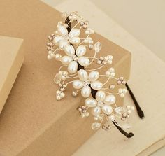 louise floral pear bridall side tiara by jewellery made by me | notonthehighstreet.com