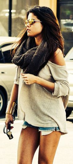 Selena Gomez ♥ over sized sweater,big knitted scarf, shorts, and a gold bracelet