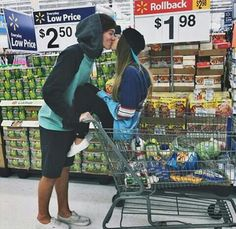 Crazy couple in supermarket