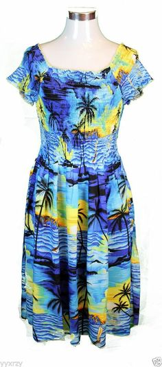 9b70d99c9d8 Details about Tropical Luau Dress Sundress Cruise Beach Elastic Short  Sleeve Party Sunset Blue