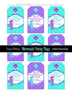 Mermaid Party Tags Instantly Downloadable and by SugarShebang