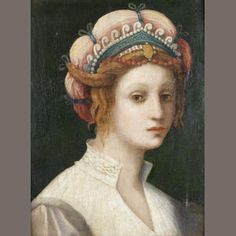 Attributed to Domenico Puligo (Florence 1492 - Portrait of a Lady I do love me some crazy headwear. Portrait Renaissance, Italian Renaissance Dress, Mode Renaissance, Renaissance Paintings, Renaissance Costume, Renaissance Fashion, Renaissance Clothing, Female Portrait, Female Art